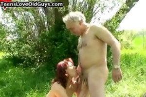 legal age teenager redhead gal sucking and