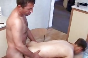 pale twink and matura gay daddy having homo on