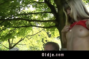 youthful wicked blonde seduces and bonks granddad
