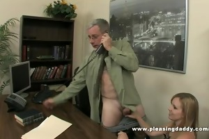 hot wench bonks old boss to secure the job