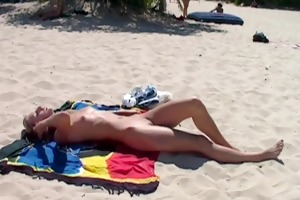 youthful non-professional at nude beach