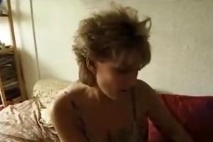 biggest tit milf sucks pecker and fist herself.