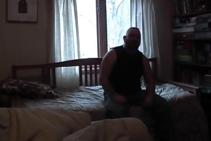 large daddy opens the pooch shlong and sucks in