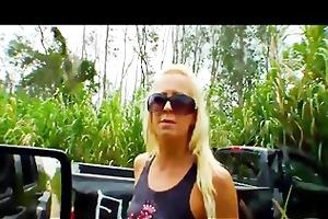 crazy golden-haired ex-girlfriend smashes her