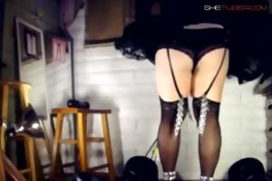 teasing dad by dancing in sheer black lewd outfit
