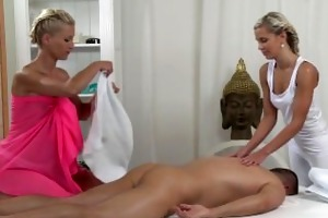 massage rooms two breathtaking teens share large
