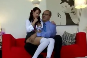 brunette fingering herself for old man