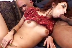 juvenile indian gal plays with one old penis