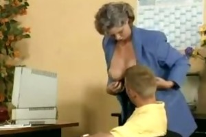 insane old mom gets penis fucked in the office
