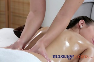 massage rooms youthful lesbo allies share oily