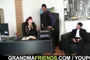 office aged lady swallows dicks