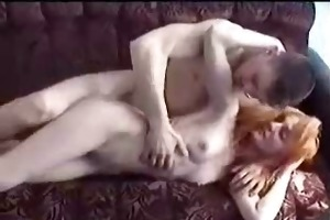 redhead russian granny fucked in living room by