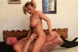 firm young girl copulates old curly cock