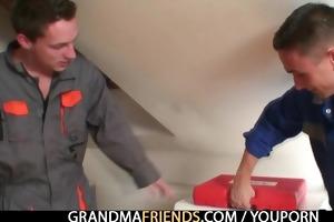 nasty granny pleases two repairmen