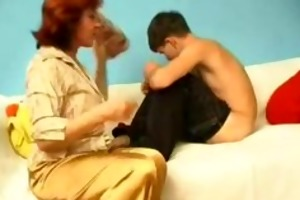 young slender chap with bulky older russian woman