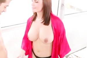 concupiscent huge boobs mamma and daughter teamed