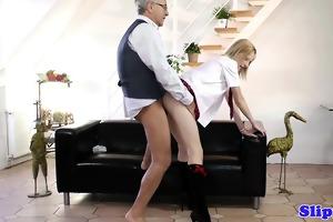 blond schoolgirl pleasing his old nob