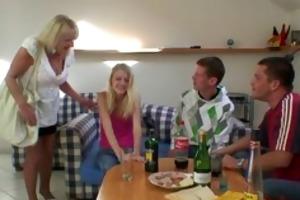 partying guys screw drunk blonde granny