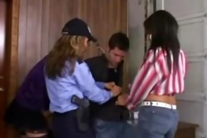 three cfnm police women humiliate young naked man
