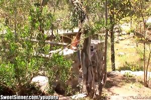 hawt redhead milf drilled outdoors