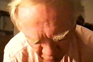 older man swallows the cum