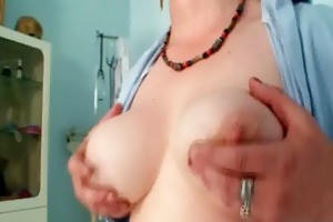 busty milf in uniform widens her unshaved vagina