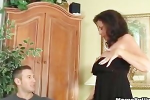 sexy cougar fucking in heels, nylons and lingerie