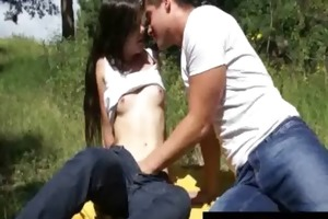 legal age teenager gets slit licked outdoors