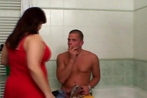 giant titted mother-in-law helps him cum