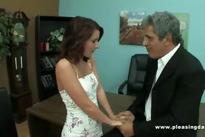 old guy bonks girl interviewing for job