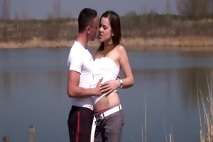 brunette teen pascalle receives screwed and