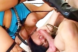 brunette milf against big hard wang