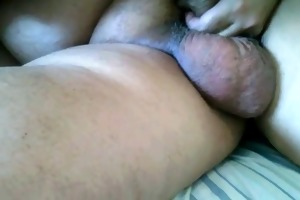 engulfing fat grand-dad large balls from up side