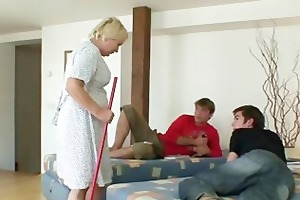 old cleaning woman is banged by two boyz