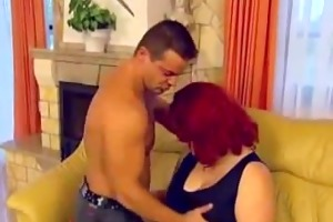 nasty chubby wife ridding on a younger cock