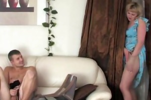 mama catches son jerking with her pantys