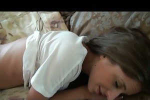 young busty teen girlfriend wakes up by massage