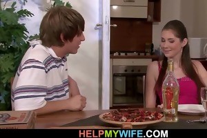 pizza guy bangs married wench from behind