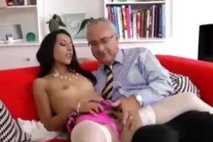 babe in stockings sucks old man
