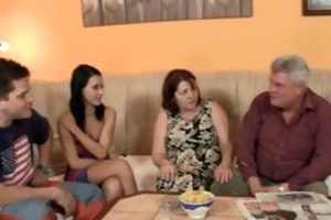 his gf is enticed by old mommy and screwed by old