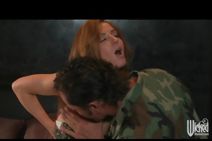 lustful redhead slut sucks & fucks a soldiers