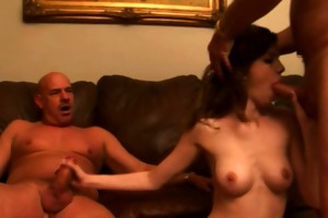 cute brunette copulates old men for cash