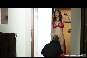 young natural-tit dark brown slut sucks &