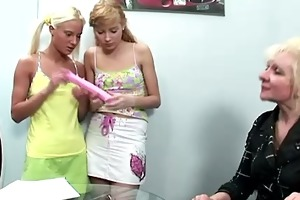 nasty old lesbo teacher showing teen students