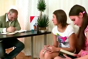 the old teacher is fucking two teen students at