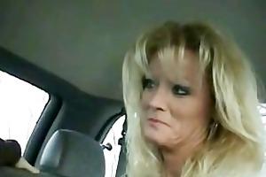 milf in car smoking and engulfing