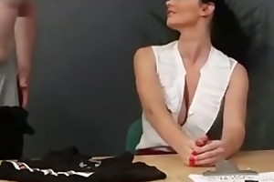 blowjob during interview caught on camera