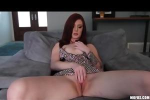 hot slender red-head girlfriend finger-fucks taut