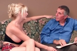 horny bigtits golden-haired whore getting her