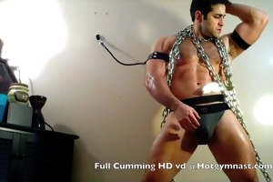 chained cumming muscle stud!